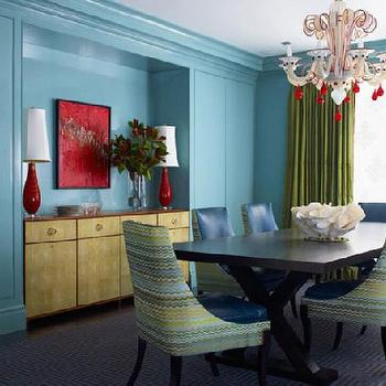 Katie Ridder - dining rooms - x base dining table, x dining table, turquoise walls, buffet cabinet nook, green curtains, green drapes, rd lamps, red buffet lamps,