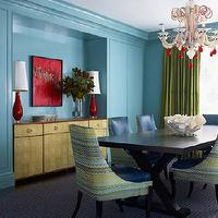 Katie Ridder - dining rooms - chandelier, dining table, green, blue, dining chairs, red, lamps, buffet, blue, green, drapes,  Interesting mix