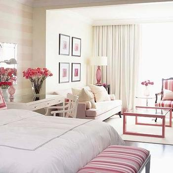Sarah Richardson Design - bedrooms: sarah richardson bedroom, sarah richardson bedrooms, pink bench, striped pink bench, bedroom bench, bench at foot of bed, pink bedroom, bedroom lounge area, bedroom sitting area, desk as nightstands, pink coffee table, mitered pillows, pink mitered pillows, pink sofa, soft pink sofa, pink lamps, pink glass lamps,