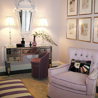 Gary McBournie - girl's rooms - mirrored vanity, mirrored make up vanity, purple vanity chair, lilac chair, lilac tufted chair, lilac walls, dressing room,