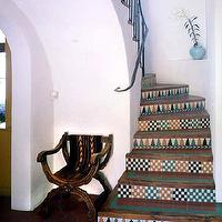 Sunset Magazine - entrances/foyers - Spanish, tile, stair, foyer, chair,  spanish, tiles