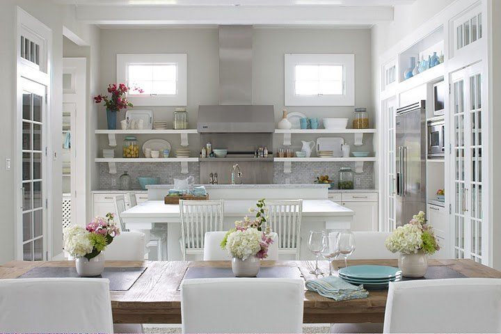 Molly Frey Design - kitchens - Sherwin Williams - Conservative Gray - gray, blue, white, kitchen, cabinets, gray, tile, backsplash, kitchen island, rustic, farmhouse, dining table, white, upholstered, dining chairs, stainless steel, appliances, hood, white shelves, French doors, stools, gray walls, paint color, gray walls, grey walls, gray paint, grey paint, gray paint color, grey paint color, gray wall paint, grey wall paint, gray kitchen walls, grey kitchen walls, gray kitchen paint, grey kitchen paint, gray kitchen paint color, grey kitchen paint color,