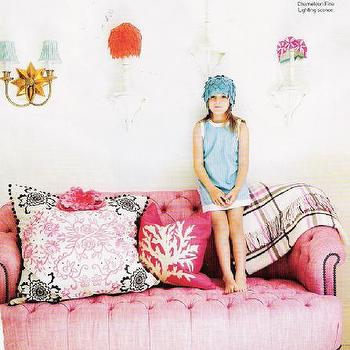 living rooms - pink sofa, feminine sofa, tufted sofa, pink tufted sofa,  girl's room  really pretty pink sofa, but what makes it vavoom is the