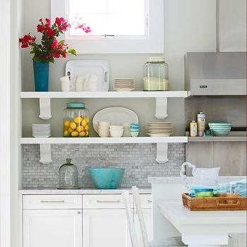 Molly Frey Design - kitchens - kitchen shelve, s stacked shelves, kitchen shelving, shelves flanking kitchen hood, mosaic marble tiles, mosaic marble backsplash, mosaic marble kitchen backsplash,