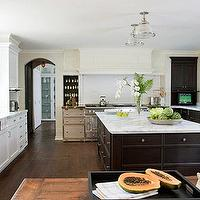 de Giulio Kitchen Design - kitchens - white, carrara, marble, countertops, white, subway, tiles, white, kitchen, cabinets, espresso, brown, stained, island, cabinets, glass, pendant, lights, La Cornue, French, range, soft yellow walls, paint color, kitchen,