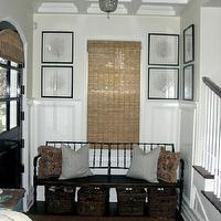 entrances/foyers - bench, chandelier, dutch door, black dutch door, framed sea fans, , foyer bench,  foyer, needlepoint pillows, bamboo rug