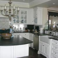 kitchens - soapstone, carrera marble, island chandelier, soapstone countertops, soapstone island, soapstone kitchen island,  light and bright