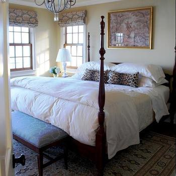 Teresa Meyer Interiors - bedrooms - leopard print, leopard print pillows, leopard pillows, 4 poster bed,  One of the guest rooms at my in-laws