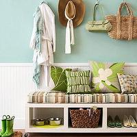 entrances/foyers - aqua, white, lime green, bench, stripes, rainboots, striped, bench, cushion, beadboard, turquoise,  weekend redo - entry way