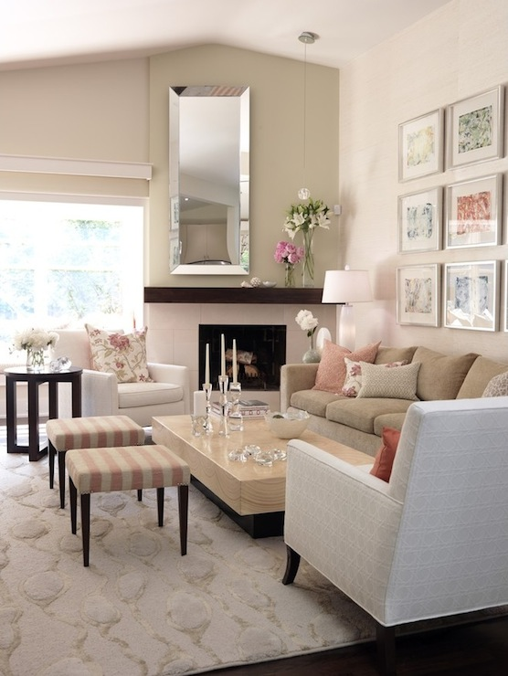 Sarah Richardson Design - living rooms - ICI Dulux - China White - striped ottomans, pink striped ottomans, fireplace mirror, beveled mirror, camel colored sofa, camel linen sofa, chunky coffee table, art deco coffee table,