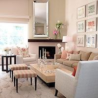 Sarah Richardson Design - living rooms - wall, beveled, mirror, striped, pink, ivory, walnut, stools, beige, sofa, white, geometric, accent, chairs, modern, wood, coffee table, glass, top, wood, accent, table, fireplace, art, photo, gallery, lamp, pink, beige, white, red, floral, throw, pillows, striped, pink, bench,