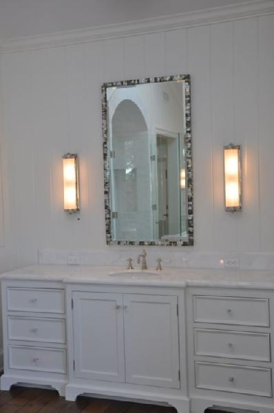 Mother Of Pearl Mirror Transitional Bathroom