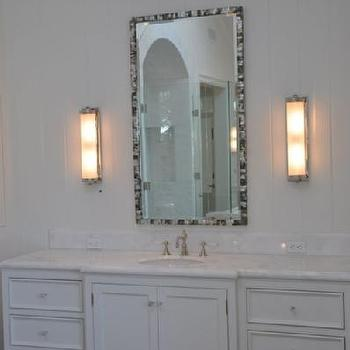 Mother of pearl Mirror, Transitional, bathroom, Giannetti Home