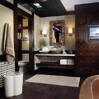Traditional Home - bathrooms - white, marble, floating, vanity, countertop, wood, slat, shelf, round, overmount, copper, sink, oil-rubbed, bronze, fixtures, beige, gold, grasscloth, grass cloth, wallpaper, white, black, basketweave, tiles, backsplash, mocha, staines, cabinets, sconces, mirror, rustic, wood, floors,