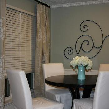 Ikea Slipcovered Dining Chairs, Transitional, dining room, Restoration Hardware Silver Sage