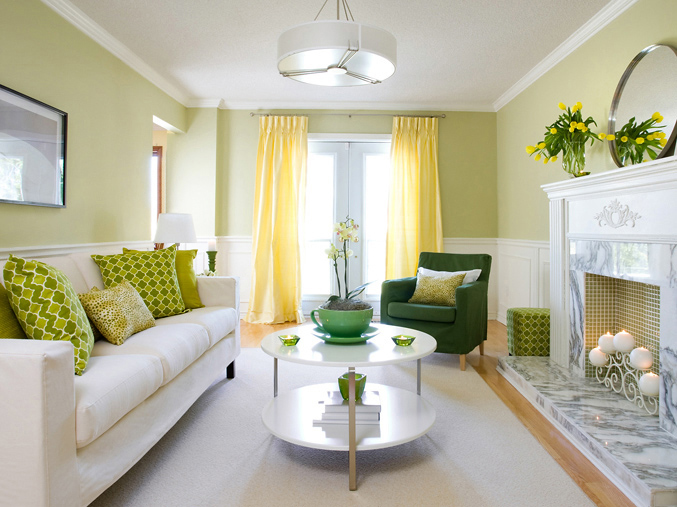 Yellow and green living room contemporary living room for Yellow modern living room ideas