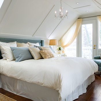 Brandon Barre Photography - bedrooms - blue headboard, blue velvet headboard, blue and yellow bedroom, attic bedroom, bedroom with vaulted ceiling, vaulted ceiling in bedroom,