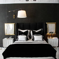 bedrooms - velvet headboard, black velvet headboard, black wingback headboard, black velvet wingback headboard, black and white bedding, black and white shams, black velvet pillows, black velvet throw, black velvet blanket, white nightstands, raised nightstands, black and white bedroom, black and white bedroom ideas,