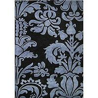 Rugs - Hand-tufted Black/ Charcoal Floral Wool Rug (5&#039; x 8&#039;) | Overstock.com - rug