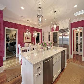 Megan Winters - kitchens - hundi lantern, hundi lanterns, pink kitchen, white and pink kitchen, pink kitchen ideas, white and pink kitchen ideas, white kitchen cabinets, white marble countertops, pink wallpaper, double dishwashers, island with double dishwashers, kitchen island with double dishwashers, eat in kitchen,