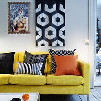 living rooms - yellow sofa, yellow linen sofa, yellow couch,  Camilla Julner  yellow sofa, orange and black black zigzag chevron pillow, striped