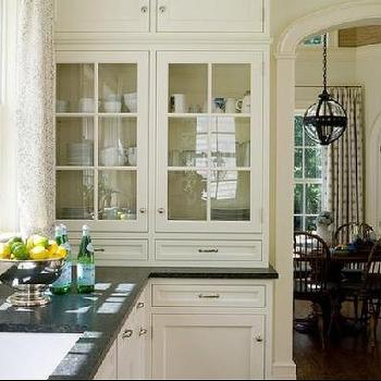 Alisberg Parker Architects - kitchens - glass cabinets, glass front kitchen cabinets, ivory cabinets, ivory kitchen cabinets,  Ivory kitchen