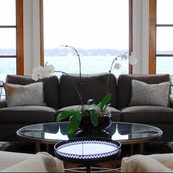Gray Linen Sofa, Cottage, living room, Benjamin Moore Oystershell, Teresa Meyer Interiors