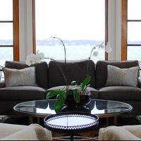 Teresa Meyer Interiors - living rooms - gray sofa, grey sofa, gray linen sofa, oval coffee table, brass oval coffee table, glass top coffee table, crystal lamps,