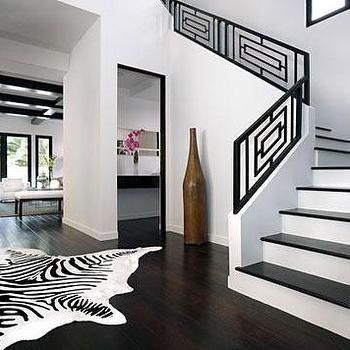 Black Staircase Railing, Modern, entrance/foyer