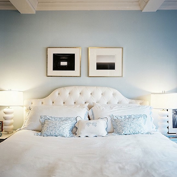 Lonny Magazine - bedrooms - blue walls, paint color, velvet tufted headboard, white velvet headboard, white velvet headboard, white tufted headboard, white velvet tufted headboard, white and blue bedding, white and blue bedroom,