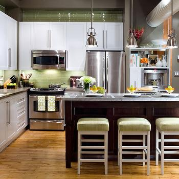 Brandon Barre Photography - kitchens - green glass tiles, green glass tile backsplash, green glass kitchen backsplash, green kitchen backsplash, green bar stools, two tone kitchen, mini yoke pendants, loft kitchen, loft kitchen ideas, loft kitchen design, Restoration Hardware benson Pendant,