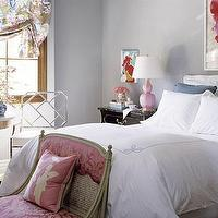 Joe Nye - bedrooms - pink, gourd, lamp, silver, metal, faux, bamboo, chair, pink, French, damask, settee, pink, silk, pillow, white, bedding, blue, trim, blue, pillows, rose, art, glossy, black, lacquer, antique, nightstand, table, brown, black, gold, pedestal, accent, table, floral, blue, pink, beige, valance, gray walls, paint, color, romantic, sweet, eclectic, pink, blue, gray, bedroom,
