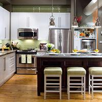 Brandon Barre Photography - kitchens - green, glass, tiles, backplash, white, kitchen, cabinets, espresso, stained, white, carrara, marble, countertops, white, counterstools, counter, stools, green, cushions, . taupe gray walls, paint color, green, brown, kitchen, loft, Restoration Hardware benson Pendant,