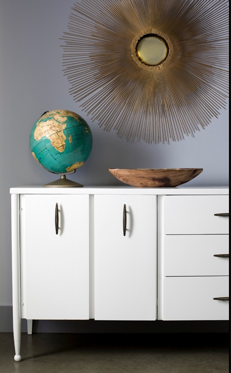 miscellaneous - globe, starburst mirror, credenza, bowl, gray, white, wood, gold,  Thanks to Decor Demon and Brian Patrick Flynn.
