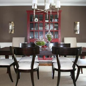 dining rooms - chocolate brown walls, brown walls, brown paint, brown paint color, brown dining room walls, brown dining room paint, brown dining room paint color, klismos dining chairs, brown klismos dining chairs, red china cabinet, wainscoting, dining room wainscoting, red and brown dining room, Rojo Cabinet, WS Home Faux Bamboo Chandelier, Restoration Hardware Klismos Chair,