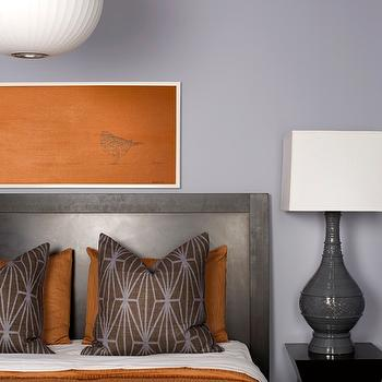 Decor Demon - bedrooms - orange bedspread, orange blanket, kelly wearstler pillows, brown and purple pillows, orange pillows, gray lamps, wood headboard, katana pillows, purple walls, Kelly Wearstler Katana Fabric,