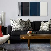 living rooms - lamp, black, sofa, gray, rug, mid-century modern, wood, coffee table, art, blue, white, brown, ikea, red, wood, rug, silver, pillows,