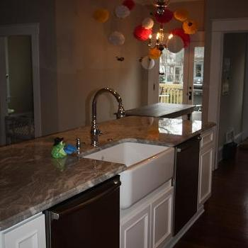 kitchens - granite, granite countertops, granite counters, double dishwashers, kitchen with 2 dishwashers, farmhouse sink,  View from island
