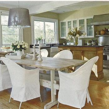 dining rooms - gray dining table, gray wood dining table, trestle dining table, gray trestle dining table, slipcovered dining chairs, white slipcovered dining chairs,