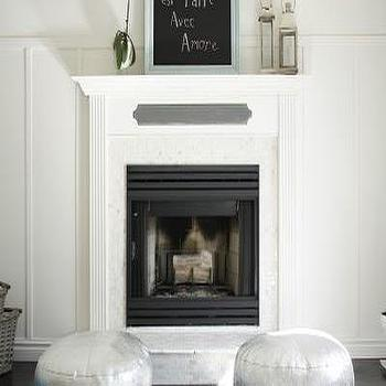 living rooms - white and gray rooms, poufs, silver poufs, silver moroccan poufs, Silver Moroccan Pouf,  love the poufs  fireplace with marble