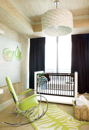 Pieces Inc - nurseries - gold, beige, grasscloth, grass cloth, wallpaper, large, white, basketweave, pendant, light, navy blue, drapes, white, brown, modern, crib, white, lime, green, zebra, rug, modern, chrome, lime, green, rocking, chair, boy's nursery, bedroom,