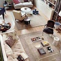 living rooms - lucite, coffee, table, bergere, chair, fireplace, ivory, tufted, sofa, lucite table, lucite coffee table,  lucite table  lucite