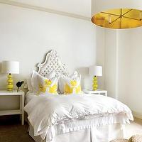 Pieces Inc - bedrooms: large, white, pendant, light, gold, lining, white, tufted, headboard, white, bedding, white, yellow, hummingbird, throw, pillows, white, modern, nightstands, yellow, lamps, seagrass, cushions, baroque headboard, white baroque headboard, french headboard, french tufted headboard, white french headboard,