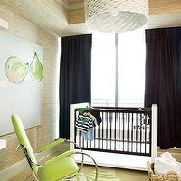 Pieces Inc - nurseries - boy's nursery, raffia wallpaper, nursery wallpaper, two tone crib, green zebra rug, green rocker, nursery rocker,  Chic,