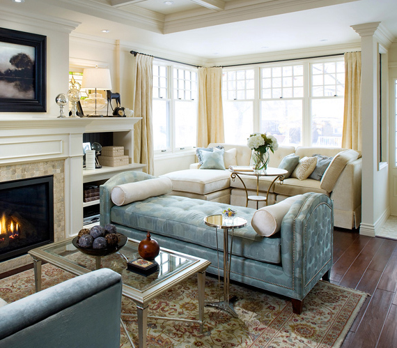 Blue Tufted Chaise - Transitional - living room - Brandon Barre ...