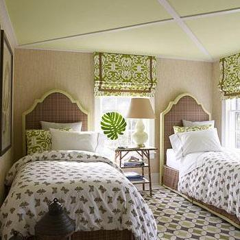 Willey Design - girl's rooms - green ceiling, painted ceiling, green painted ceiling, twin headboards, raffia wallpaper, shared nightstand, shared bedroom,
