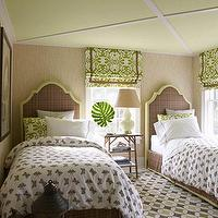 Willey Design - girl's rooms - Benjamin Moore - Wales Green - green, painted, ceiling, brown, twin, headboards, greeb, trim, bed skirt, white, brown, butterfly, bedding, duvet, green, pillows, ivory, cream, gourd, lamp, wood, accent, table, black, lanterns, black, green, white, geometric, rug, green, roman, shades, brown, ribbon, trim, beige, grasscloth, wallpaper, girl's room,