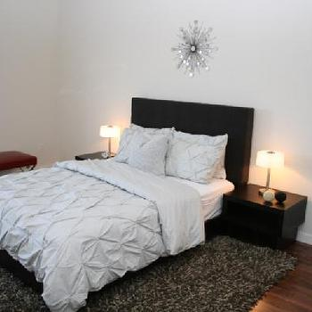 bedrooms - soft wool rug, red x framed stool, floor mirror, circular mirror, clean lines, pintuck duvet, pintuck comforter, pin tuck duvet, pin tuck comforter, black headboard, gray pin tuck duvet, gray pin tuck bedding, black lacquer nightstands, West Elm Organic Pintuck Duvet & Shams,