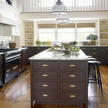 House Beautiful - kitchens - white upper cabinets dark lower cabinets, dark brown cabinets, dark brown kitchen cabinets, white upper cabinets, brown lower cabinets, white top cabinets dark bottom cabinets, white top cabinets brown lower cabinets,