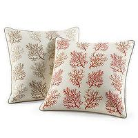 Pillows - Williams-Sonoma Home | Embroidered Repeating Coral Branches Pillow - pillow